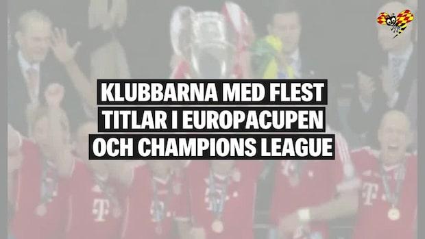 Klubbarna med flest titlar i Champions League