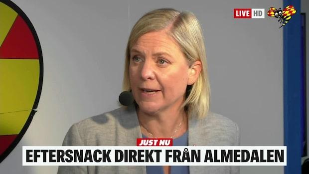 Magdalena Andersson (S) om sitt tal i Almedalen