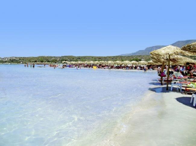 Elafonissi Beach i Elafonissi, Kreta, Grekland.