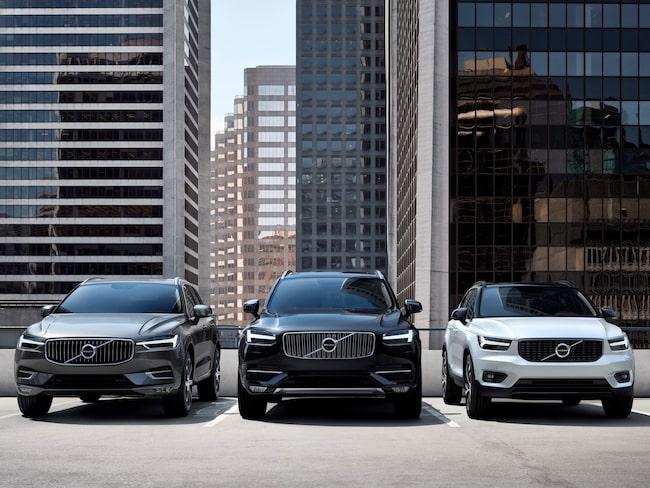 Volvos suv-modeller XC60, XC40 och XC90.