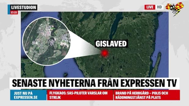 Skogsbrand rasar i Gislaved - kan vara anlagd