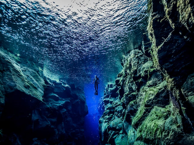 Det är den enda platsen i världen där du kan snorkla eller dyka direkt i sprickan mellan två kontinentalplattor.
