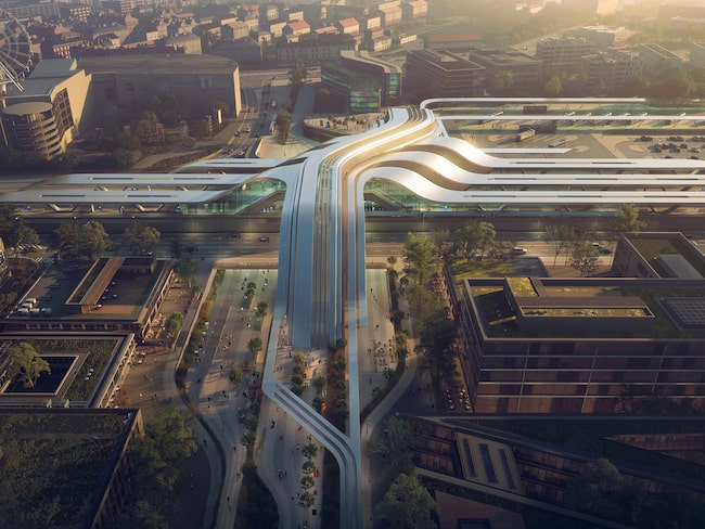 Framtida tågstationen enligt arkitektvisionen.