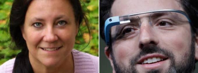 Eva Mårell-Olsson, 47, är ensam i Sverige om att få prova Google-glasögonen. Foto: Privat och AP