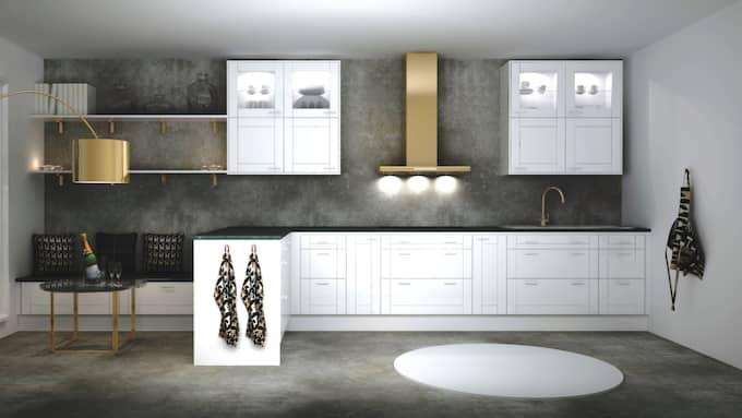 Vitt och marmor. Helags från Storsjökök. Vita luckor här kombinerat med grön marmorskiva. Kökssnickerier, bänkskivor, underlimmad diskho, 82 500 kronor.
