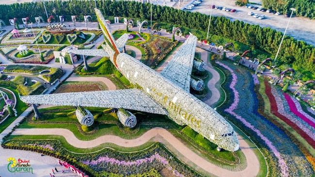 En kopia av ett flygplan (Airbus A380) täckt av mer än en halv miljon blommor.