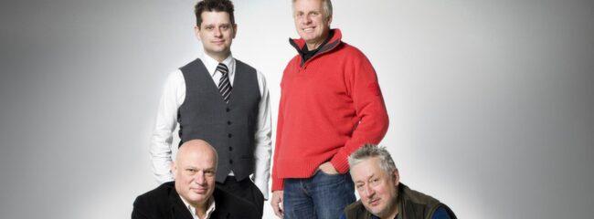 Manspanelen. Från vänster: Robert Aschberg, 59, tv-profil och styrelseledamot i produktionsbolaget Strix, Marcus Birro, 39, författare, Pigge Werkelin, 51, företagsledare, Leif GW Persson, 66, professor och deckarförfattare.