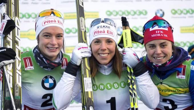 Sofia Henriksson med Charlotte Kalla och Anna Haag. Foto: Carl Sandin