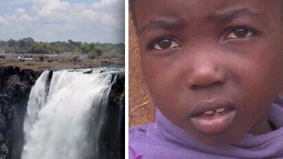 Ett av världens största vattenfall hotat i torkan