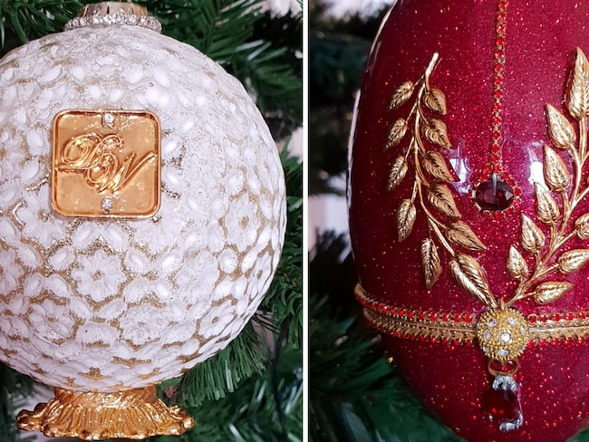 Kula med guld och diamanter samt granens dyraste pynt, en äggformad skapelse i röd diamant.