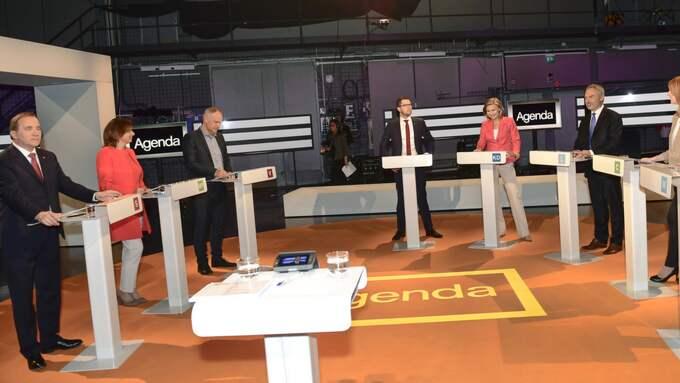 Partiledarna under Agenda-debatten. Foto: Maja Suslin/Tt / TT NYHETSBYRÅN