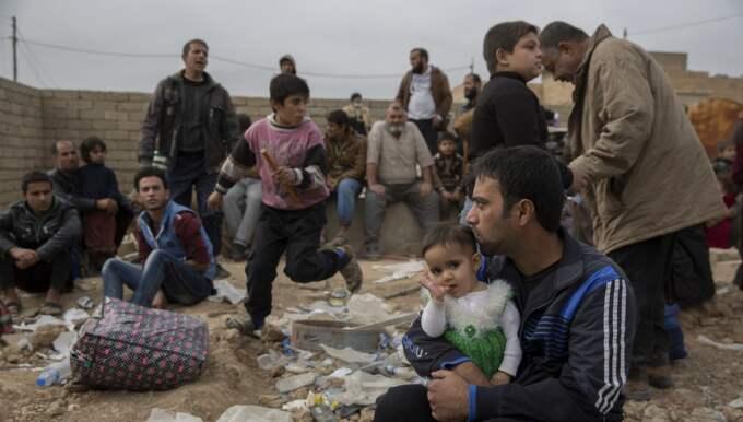 Omar, 30, väntar med sin dotter Ahlam, 1, på transport till flyktinglägret. Foto: Niclas Hammarström