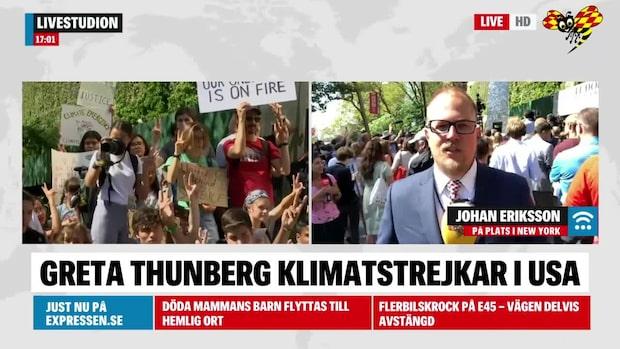 Greta Thunberg håller klimatstrejk i USA