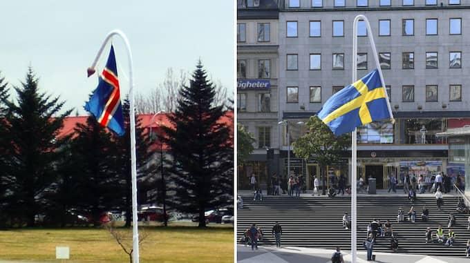 """Isländska """"Flagpole"""" uppvisar vissa likheter med svenska """"Du gamla, du fria"""". Foto: Eva Isleifsdottir, HENRIK MONTGOMERY/TT / TT NYHETSBYRÅN"""