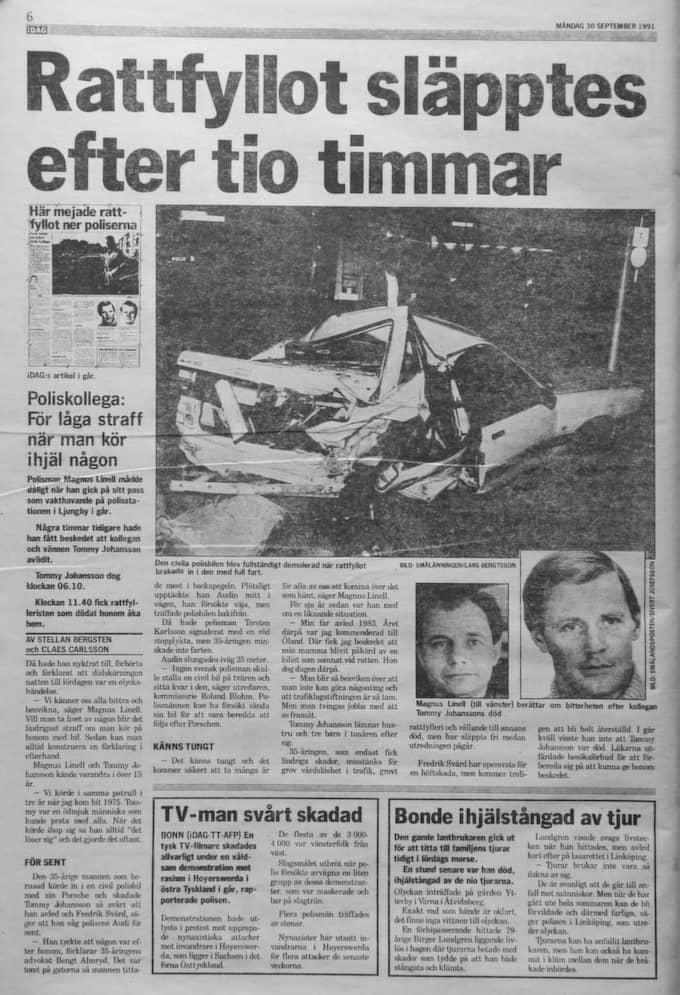 Kvällsposten 30/9 1991. Foto: Lasse Svensson