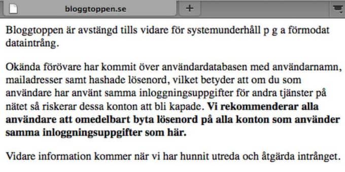 På Bloggtoppen.se ligger nu ett meddelande till användarna att byta lösenord.