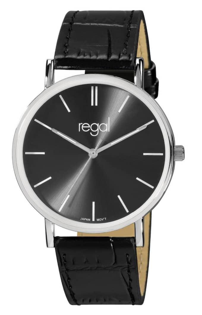 Budget Regals slimline Svart urtavla och svart armband, 298 kr.