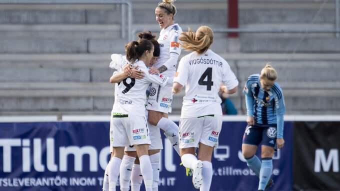 Rosengård firar efter tvåmålsskytten Ella Masars 3–1-mål mot Djurgården. Foto: AVDO BILKANOVIC / BILDBYRÅN