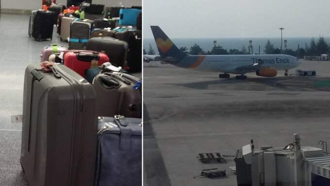 Det trasiga flygplanet och svenskarnas väskor. Foto: ALEX TORNER