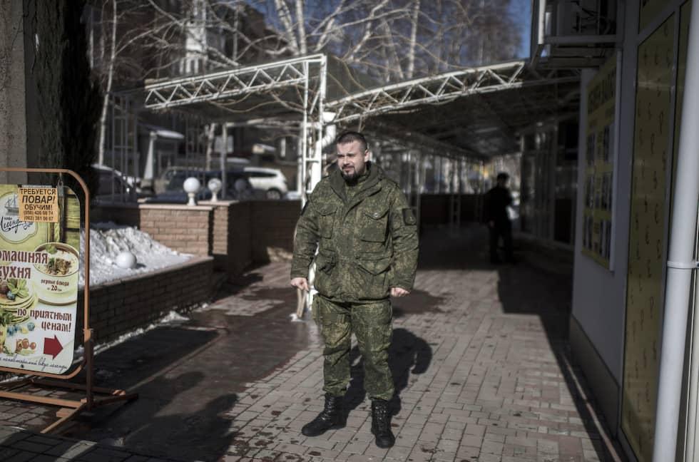 Daniil Bezsonov har stridit i alla större slag och är i dag talesperson för Donetskrepublikens försvarsministerium. Foto: Expressen / CHRISTOFFER HJALMARSSON