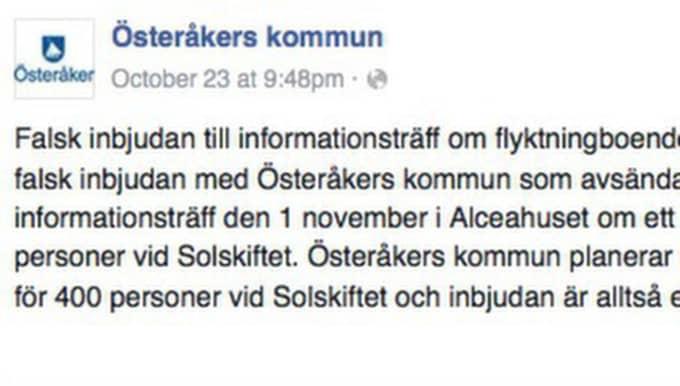 Under helgen fick flera boende i Österåker veta att verksamheten för funktionsnedsatta skulle flyttas till förmån för flyktingar. Men det stämmer inte, enligt kommunen. Foto: Skärmavbild