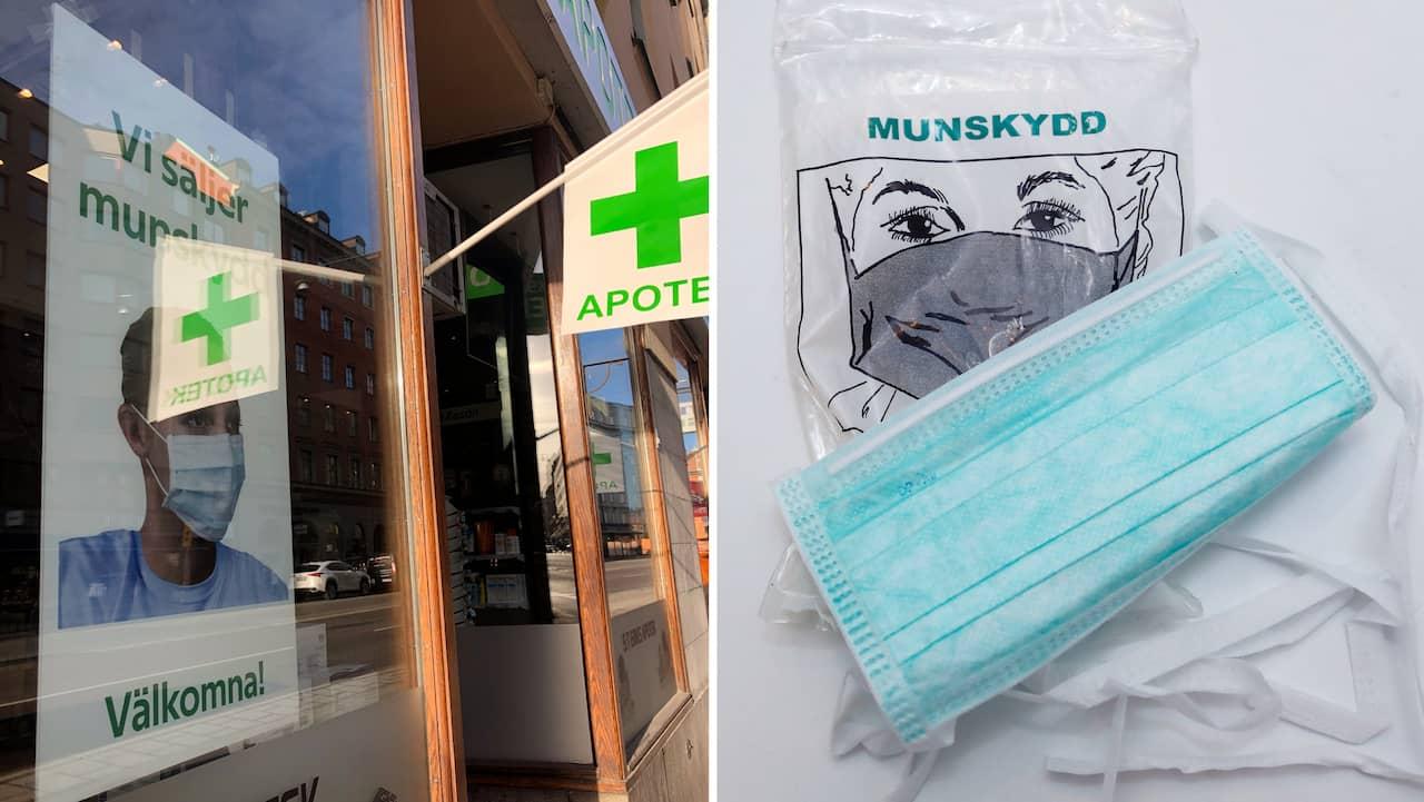 Apotek i Stockholm säljer munskydd för 900 kronor