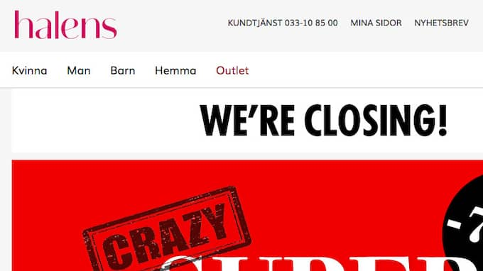 Halens.se stänger inom kort. Foto: Skärmavbild
