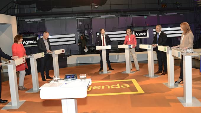 "Partiledarena i ""Agenda"". Foto: MAJA SUSLIN/TT"
