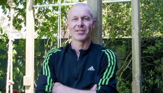 Peter Kroon i Malmö har bygget ett hemmagym i sin trädgård. Foto: Tomas Leprince