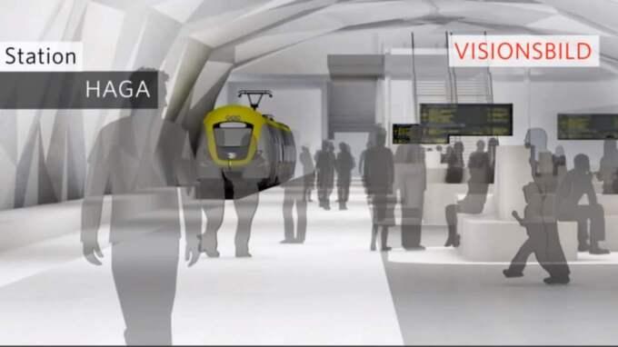 Stationen i Haga är enligt planen 25 meter under jord. Räddningstjänsten slog i höstas larm om att bristen av en parallell räddningstunnel längs stora delar av Västlänken kan innebära en responstid på runt 45 minuter vid en brand eller tågolycka. Foto: Trafikverket