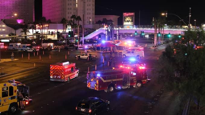 Las Vegas, strax efter att attacken ägt rum. Foto: GOTPAP/BAUERGRIFFIN.COM / GOTPAP/BAUERGRIFFIN.COM/IBL SPLASH NEWS