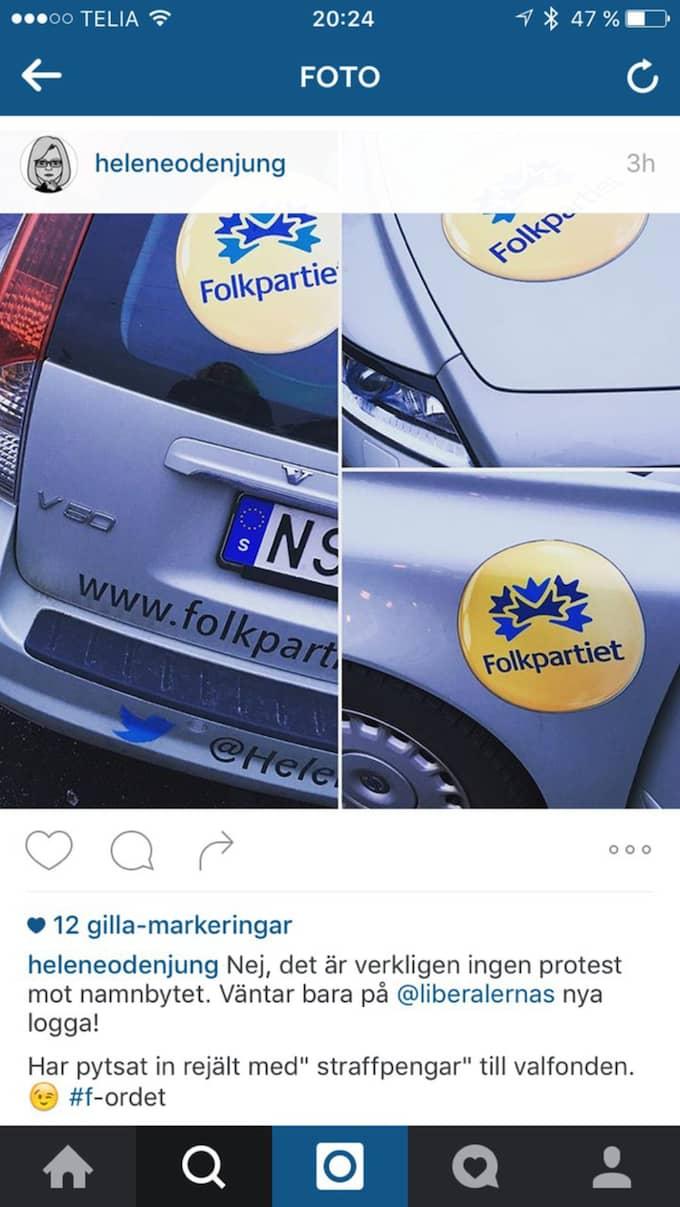 Något som L-toppen kände att hon behövde förklara på Instagram. Foto: Skärmdump
