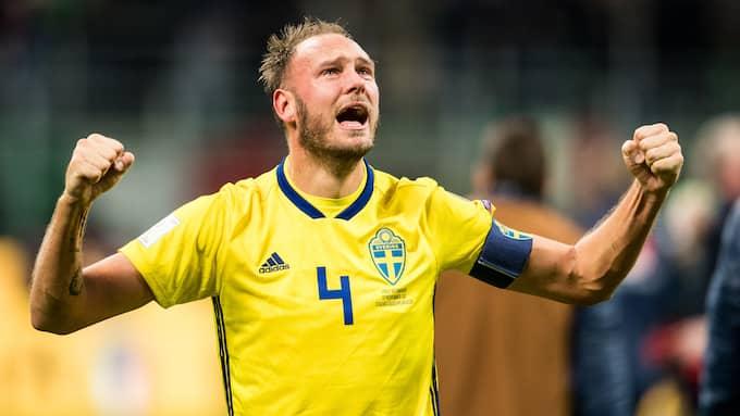 Andreas Granqvist efter säkrade VM-platsen. Foto: PETTER ARVIDSON / BILDBYRÅN