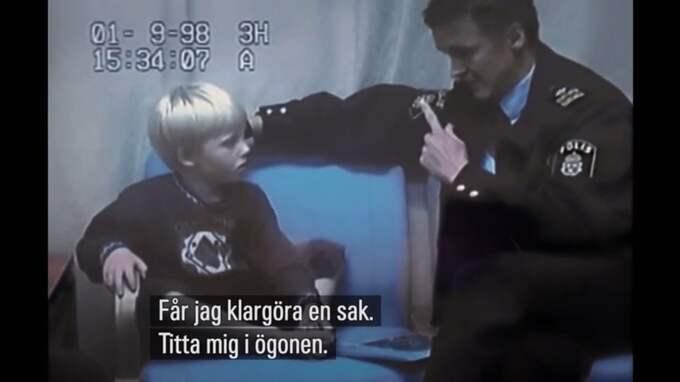 Robin, då fem år gammal, förhörs av Rolf Sandberg. Foto: SVT