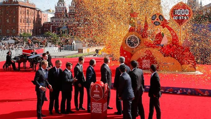 Ceremoni i Moskva inför fotbolls-VM, som avgörs i sommar. Foto: YURI KOCHETKOV / EPA TT NYHETSBYRÅN