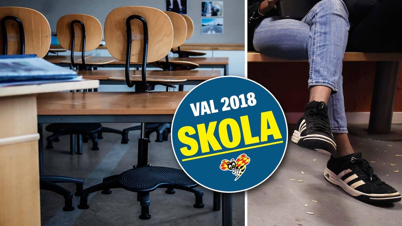Har slass elever med stolar pa svensk gymnasieskola