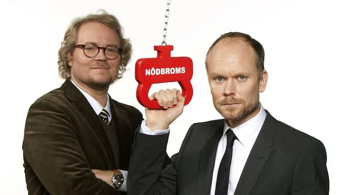 """Fredrik Lindström och Kristian Luuk inför """"På spåret"""" 2009. Foto: BO HÅKANSSON / SVT TT NYHETSBYRÅN"""