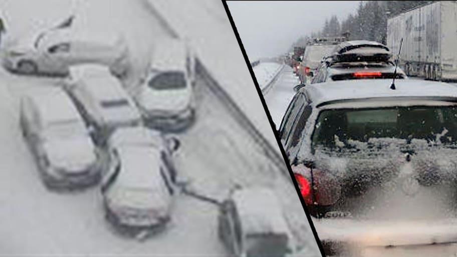 Kraftiga snöfall väntas i de södra delarna av Stockholms län,