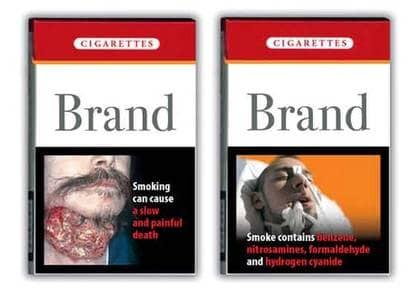 Så här kan cigarettpaketen komma att se ut.
