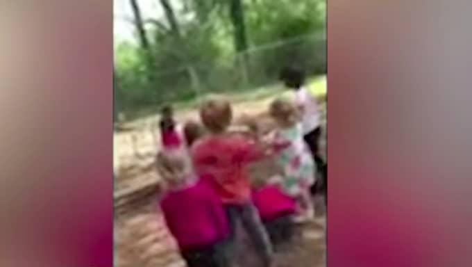 Här kastar barnen sten mot klasskompisen. Foto: Skärmdump/Fox 13