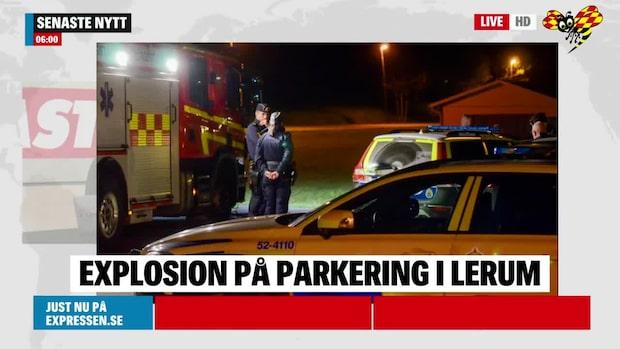 Explosion på parkering – polisen misstänker brott