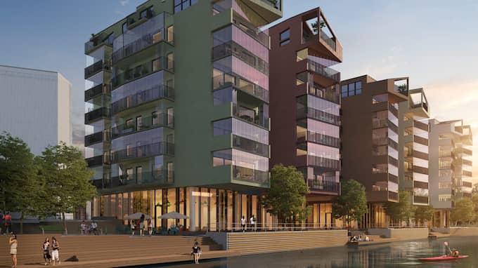 Gamlestaden blir allt mer populär bland bostadsköpare i Göteborg. Här visas bostadshus vid Säveån, alldeles intill Gamlestads torg, som snart kommer att börja byggas. Foto: Illustration: QPG Arkitekter