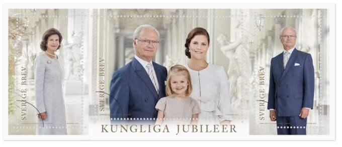 De tre kungliga frimärkena. Foto: PostNord