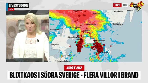 Flera skadade efter blixtkaos i Skåne