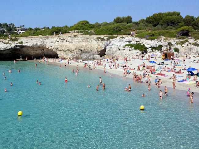 Cala Domingos på östra sidan av Mallorca är en populär badstrand bland turister.
