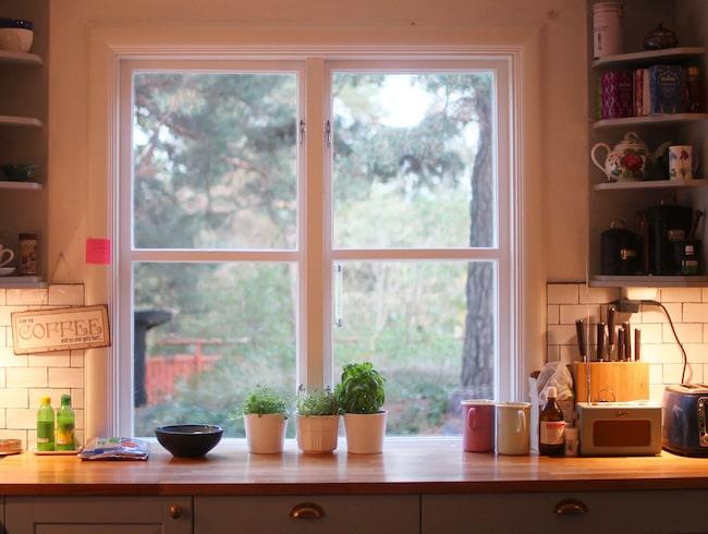 Kök i klassisk stil. Från köksfönstret har hon utsikt över den inhägnade trädgården, där hundarna härjar runt om dagarna. Inredningen i köket matchar villan, som är byggd 1920.