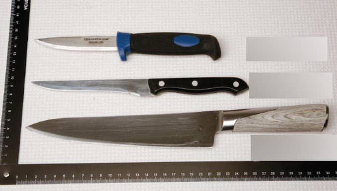 Några av de knivar som kvinnan hade packat ner i väskan. Foto: Polisen
