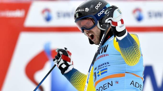 Matts Olsson överraskade med en sjätteplats i lördagens storslalom. Foto: Jean-Christophe Bott / Epa / Tt / EPA TT NYHETSBYRÅN