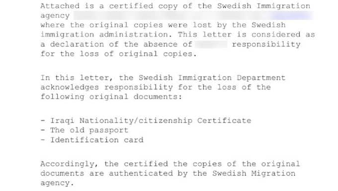 I stället för sina originaldokument fick Badr Al-Taweel ett datorskrivet brev av Migrationsverket.