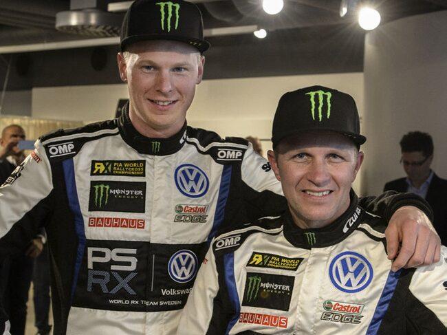 Johan Kristoffersson, till vänster, och Petter Solberg ska försöka köra hem VM-titeln i rallycross till Volkswagen.
